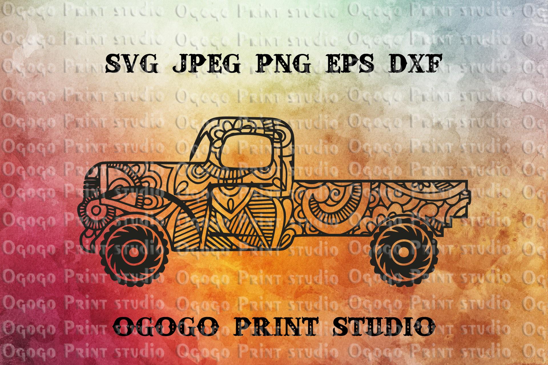 Truck Svg, Zentangle SVG, Car svg, Mandala svg, Cricut file example image 1