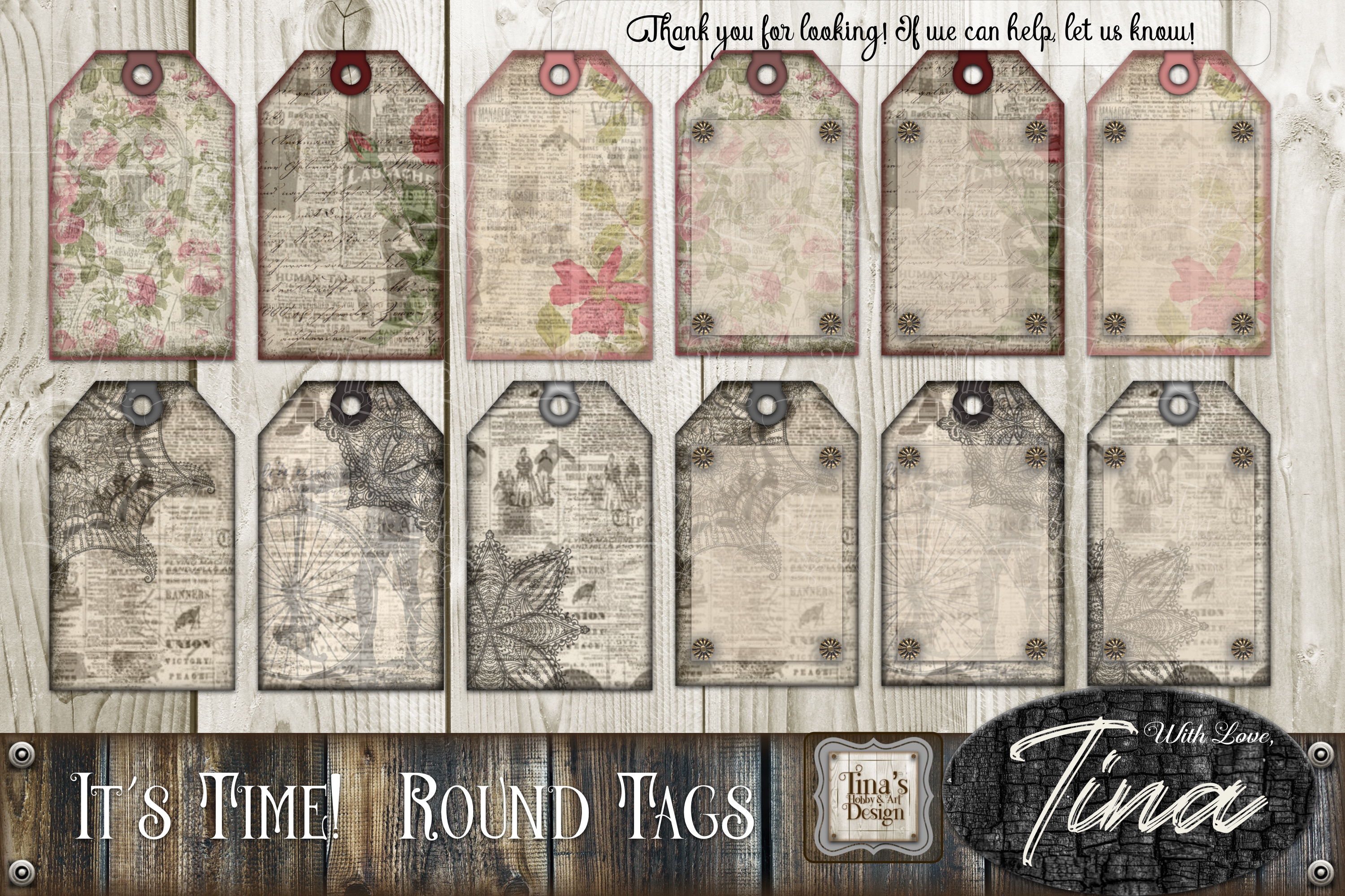 It's Time Newsprint Roses Lace Doily and Tags 092818INP example image 2