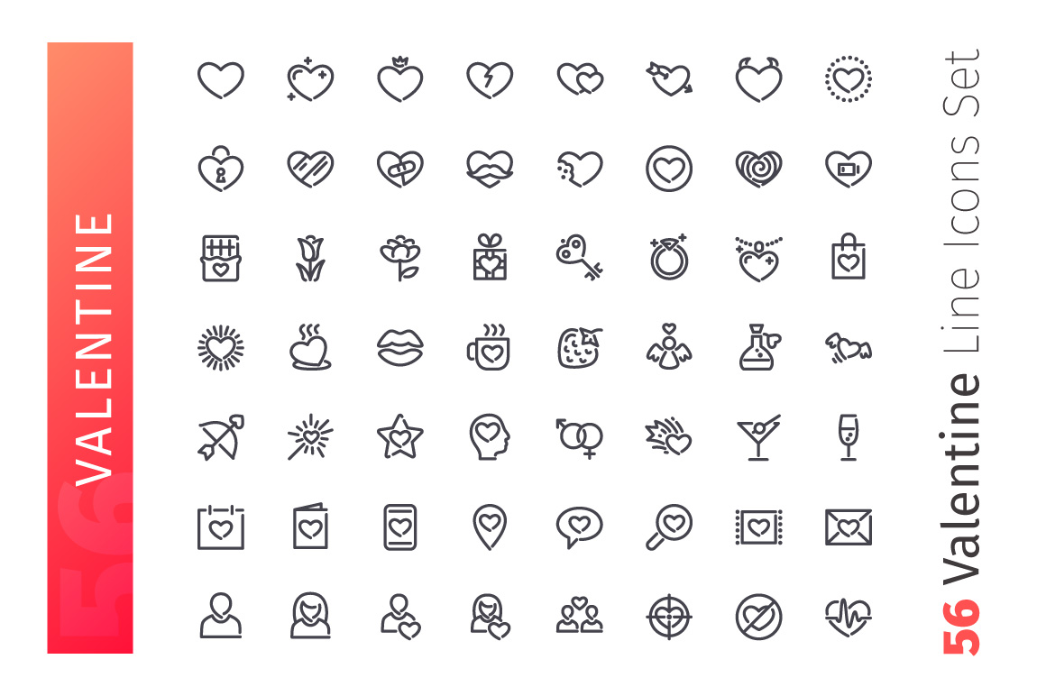 Valentine Line Icons Set example image 2