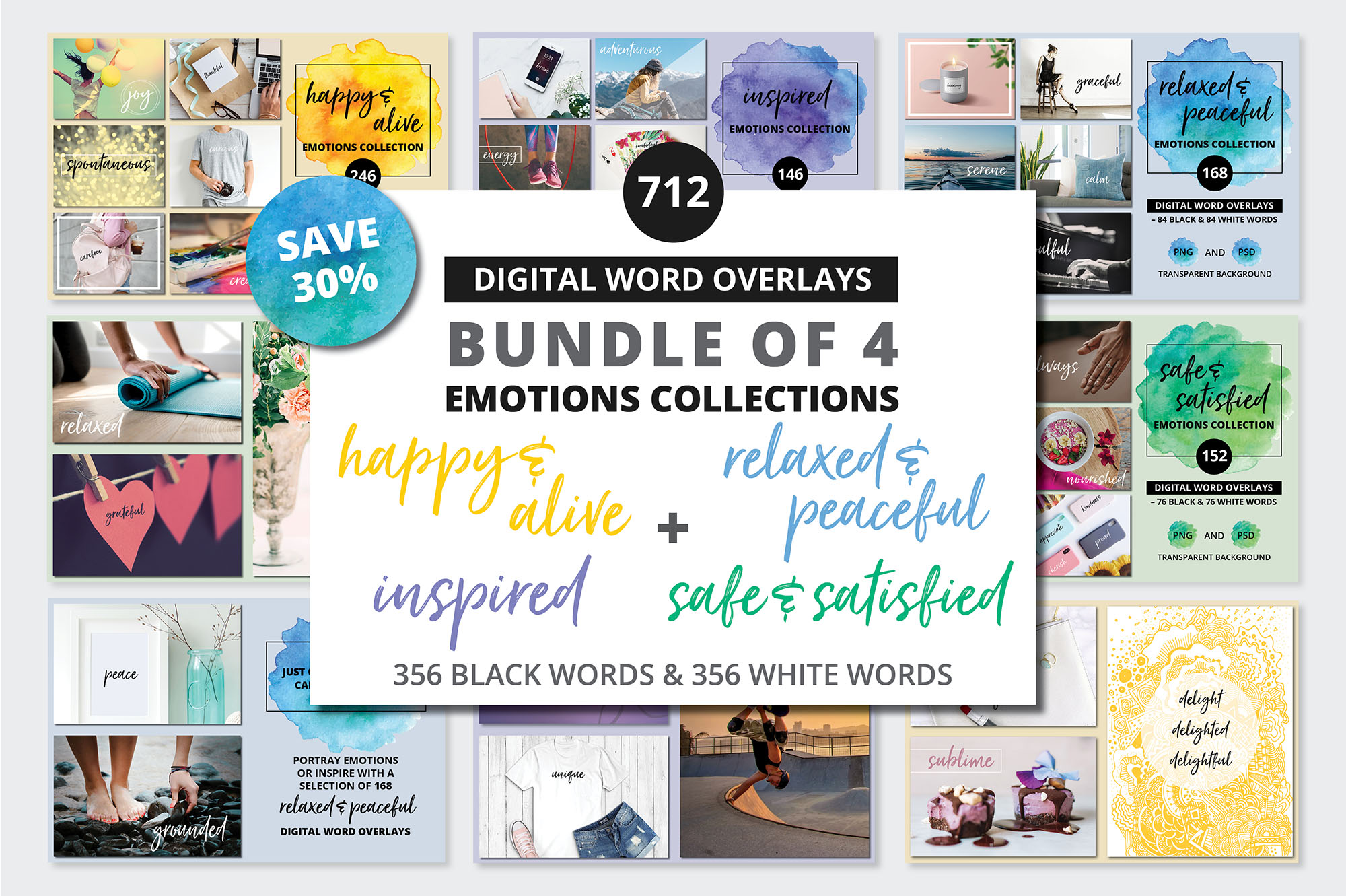 Social Media Overlays Bundle - 712 Black and White Words example image 1