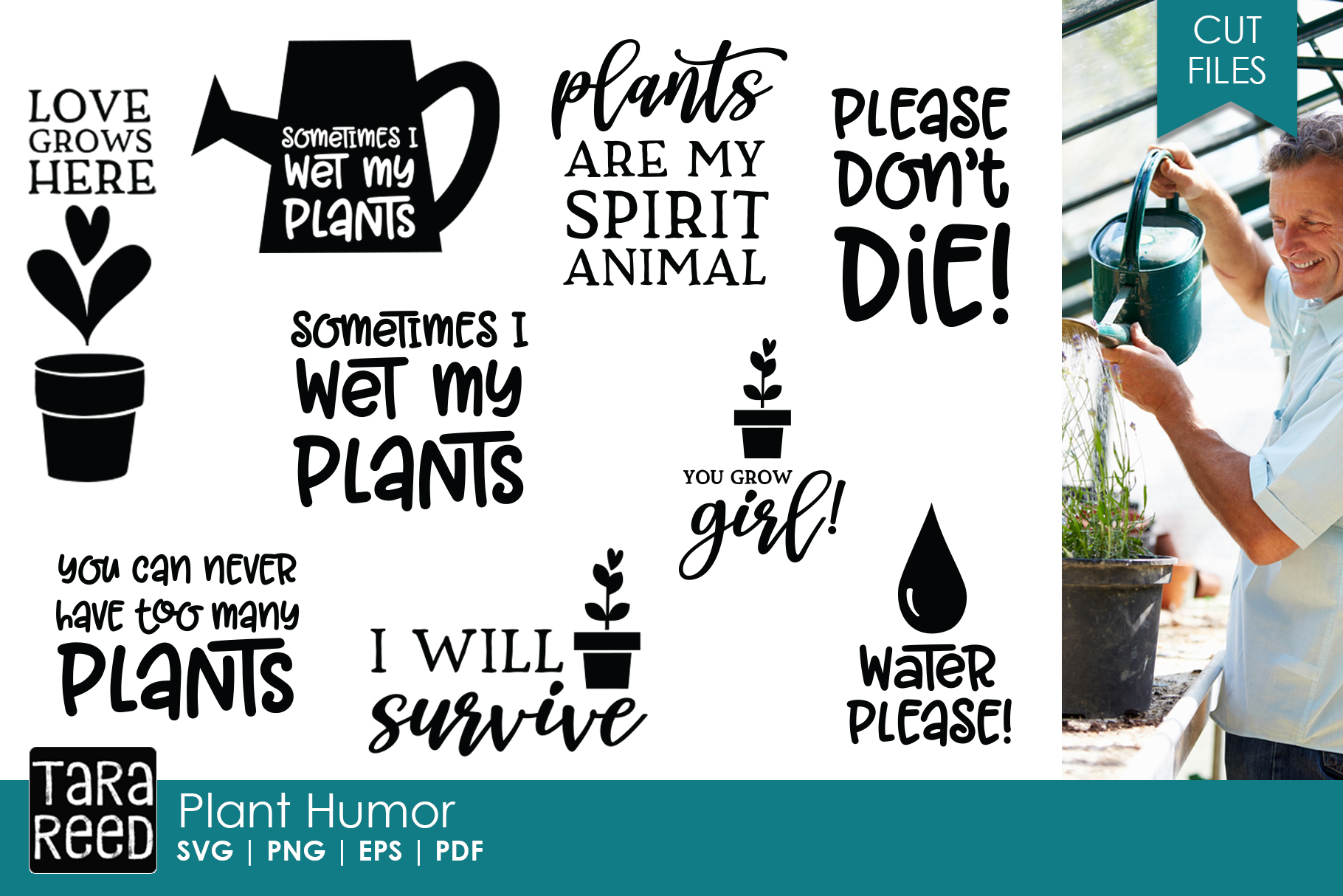 Plant Humor SVG and Cut Files for Crafters example image 1