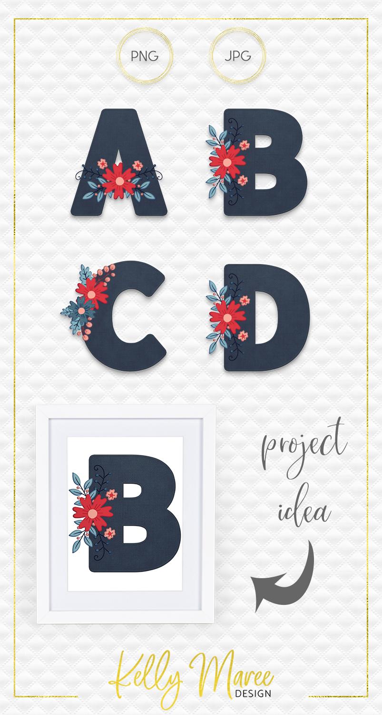 Dark Denim & Floral Alphabet Graphic Bundle example image 5