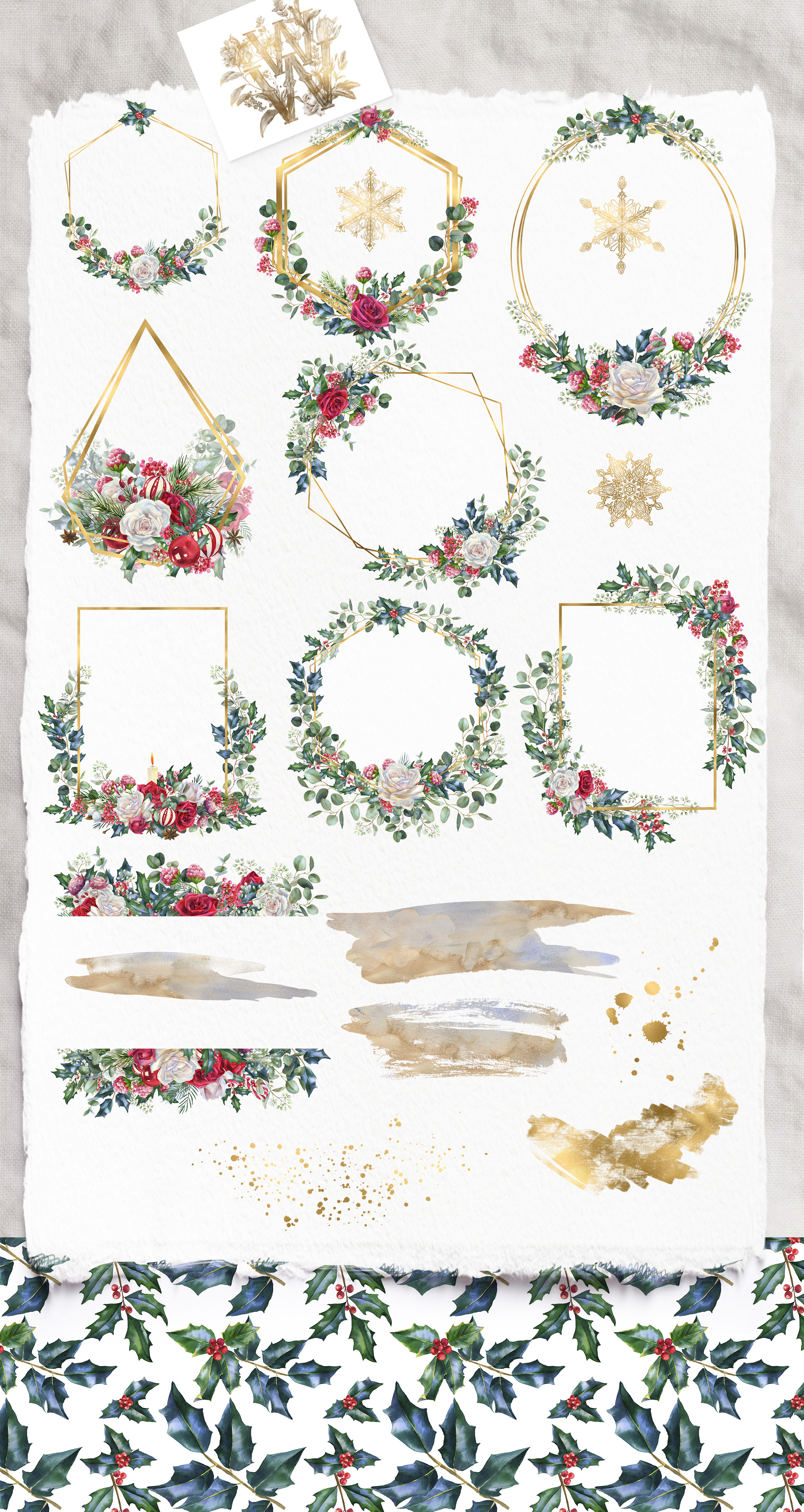 Winter frames clipart, watercolor Christmas borders png example image 2