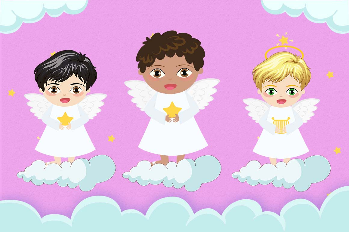 angel angels baby clipart boy boys cute star heaven digital graphics christmas graphic cartoon cart silhouette example thehungryjpeg