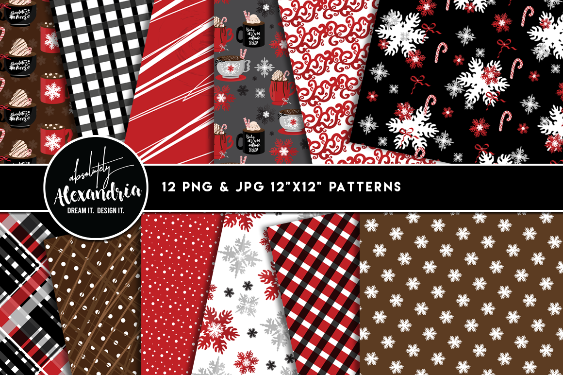 Chocolate Cheer Clipart Graphics & Digital Paper Patterns Bundle example image 2