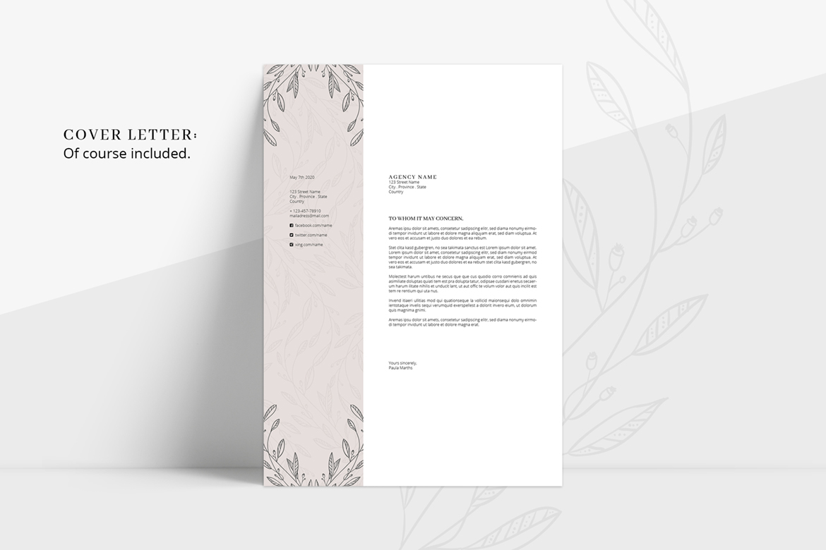 FLORAL Resume/CV + Cover Letter + Title example image 3