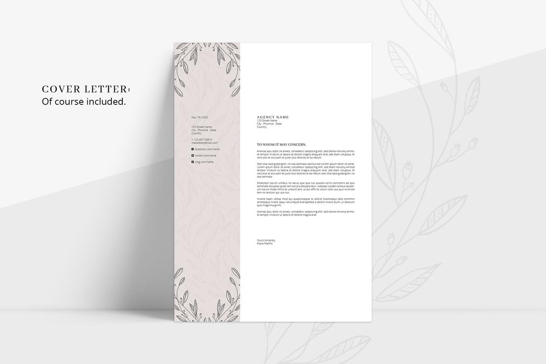 floral resume  cv   cover letter   title