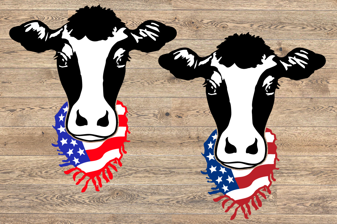 Cow Head whit Scarf US flag SVG Farm american heifer 1271s example image 2