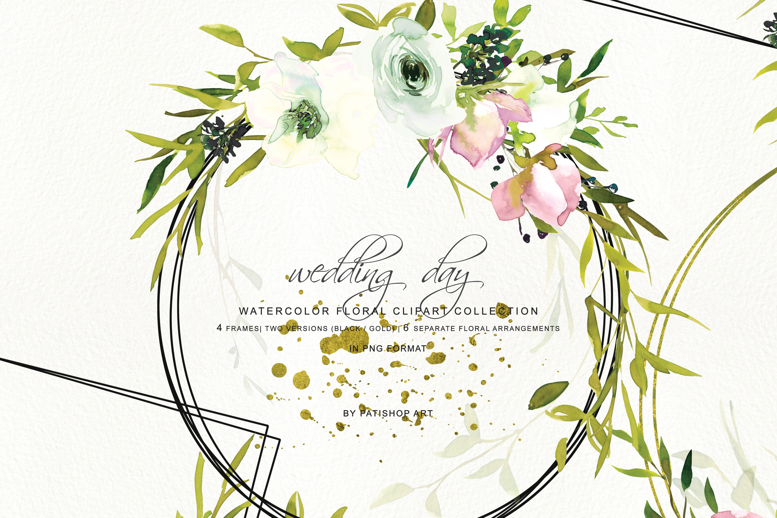 Hand Painted Watercolor Blush and White Rose Clipart example image 2