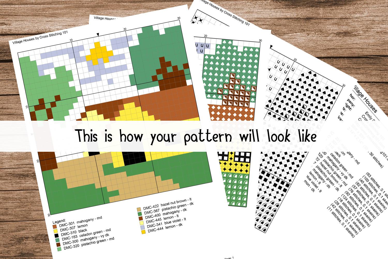 Black and White Cartoon Panda Cross Stitch Pattern PDF example image 2