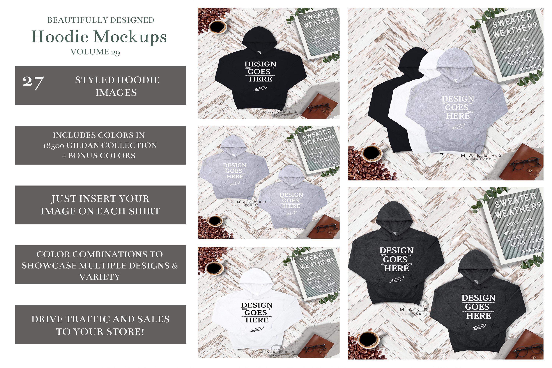 Hoodie Mock-up, Gildan 18500 Sweaters/ Hooded Sweater example image 2