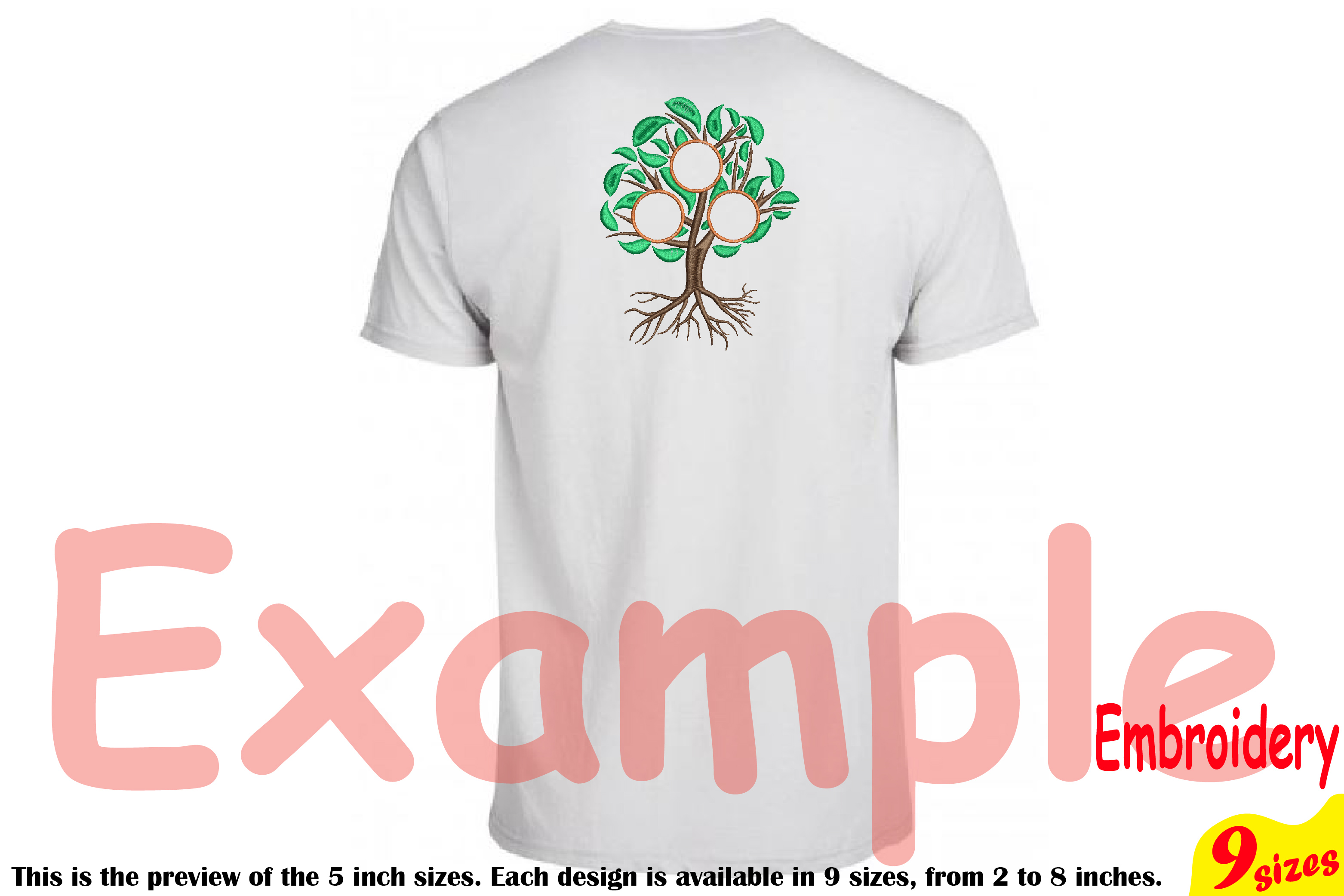 Family Tree Circle Embroidery Design Machine Instant Download Commercial Use digital Outline family love Frame Deep Roots Branches 207b example image 2