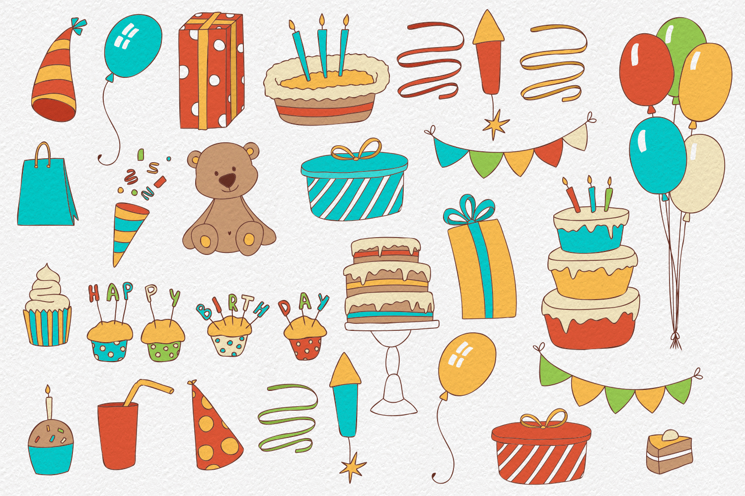 30 Birthday Clipart Elements example image 2