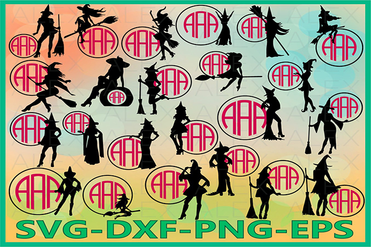 Halloween Witches, Witch Monogram Frame Svg, Witch png example image 1