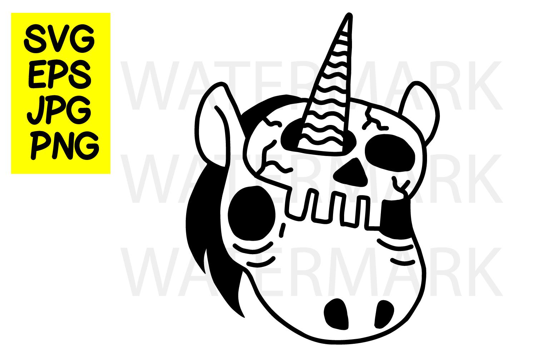 Unicorn with Skull Mask- SVG-EPS-JPG-PNG example image 1