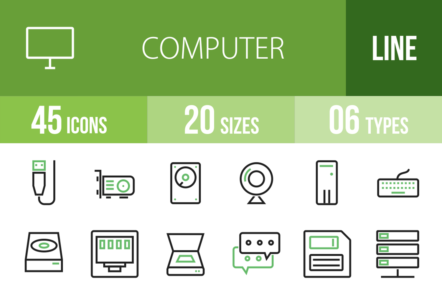 45 Computer Line Green & Black Icons example image 1