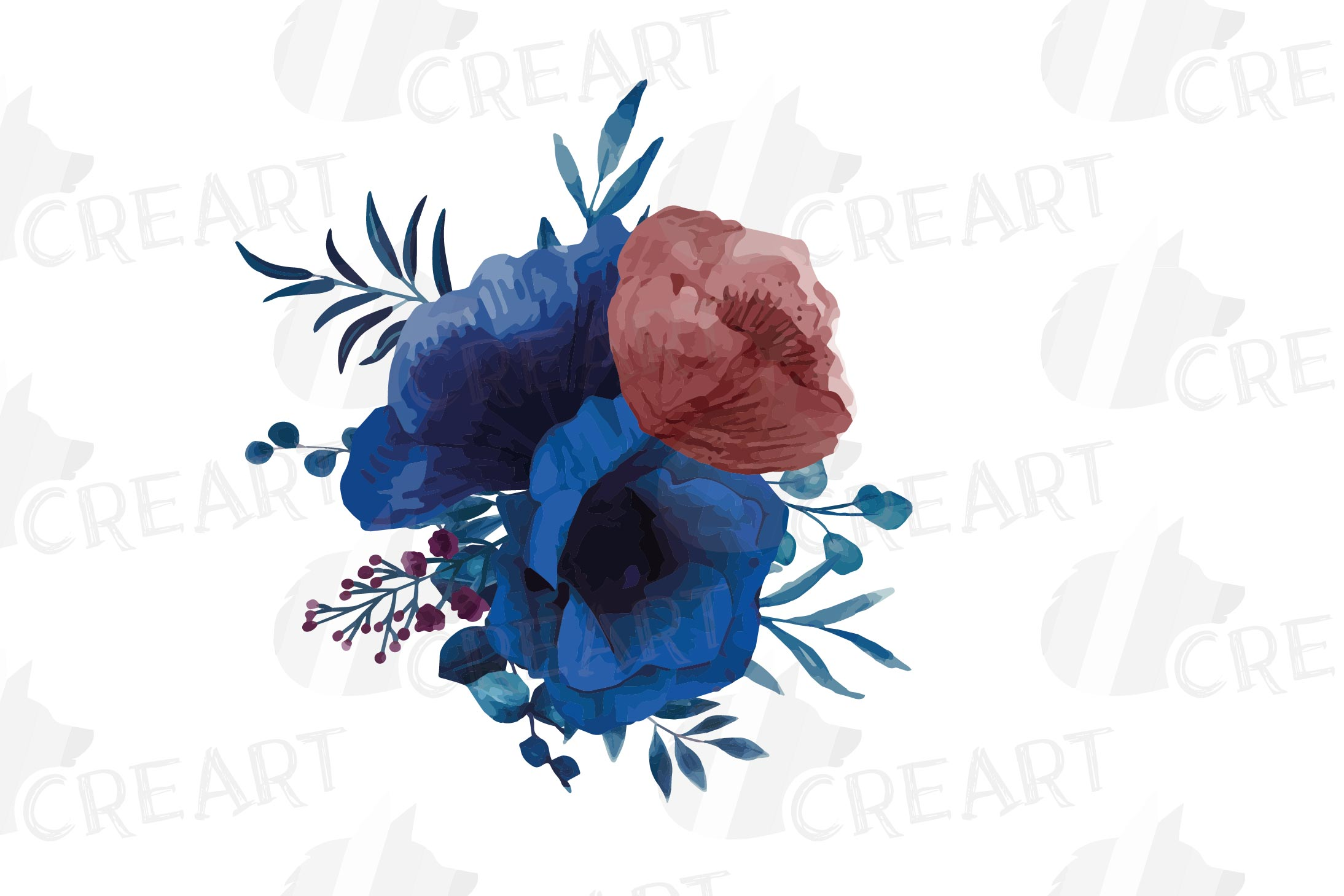 Navy blue and blush pink floral watercolor bouquets clip art example image 17