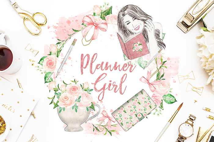 Watercolor Planner Girl design example image 3
