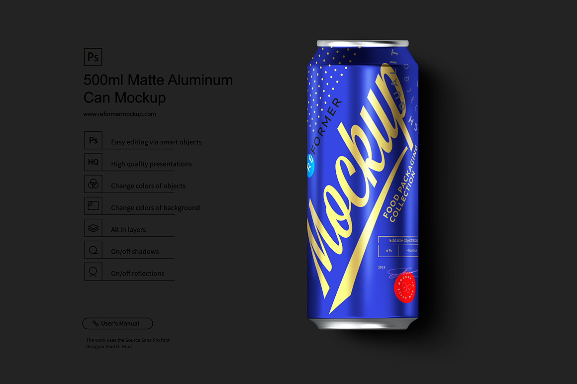 500ml Black Aluminum Can Mockup example image 2