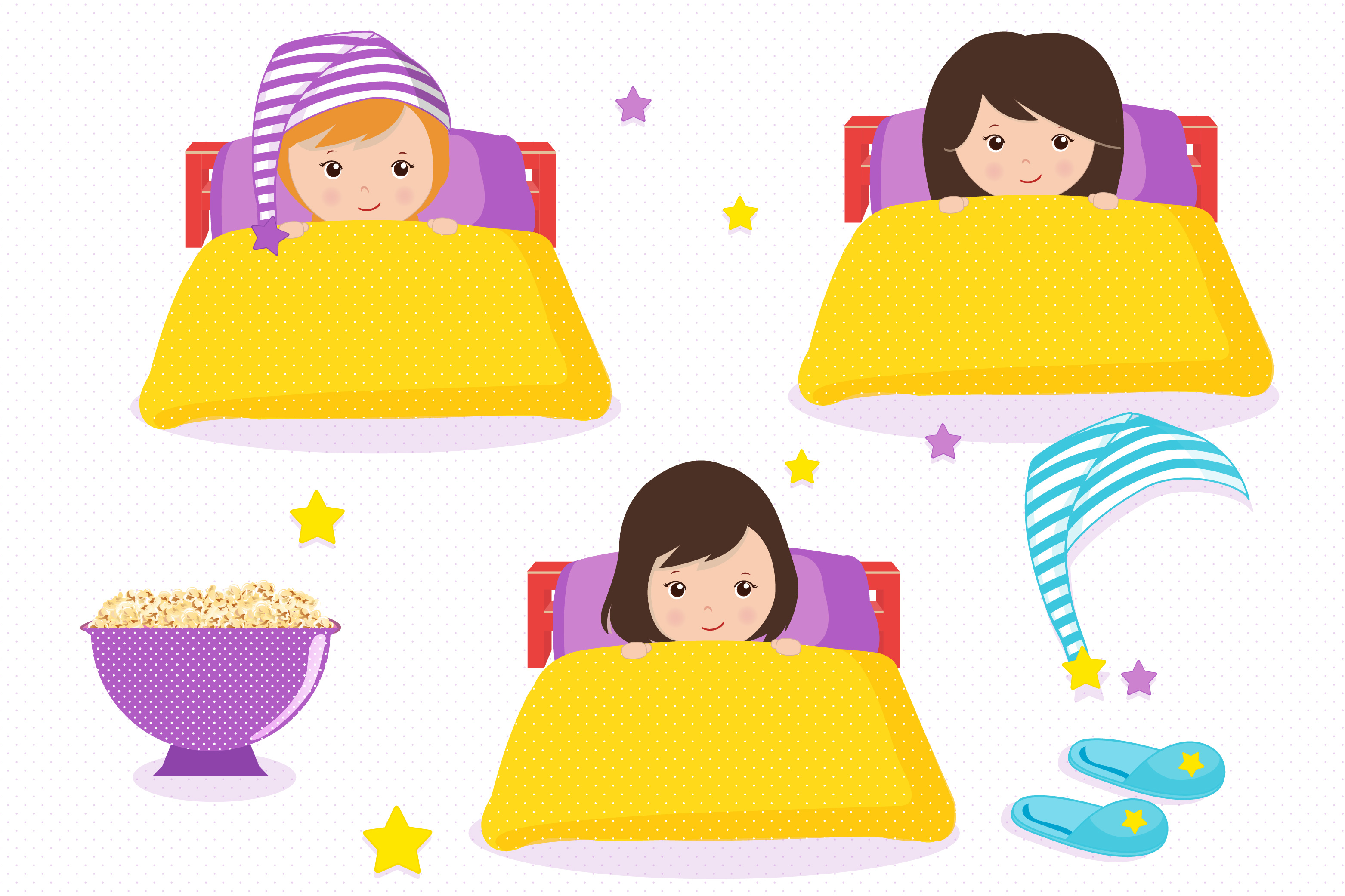 Sleepover graphics, Little girls clipart set example image 4