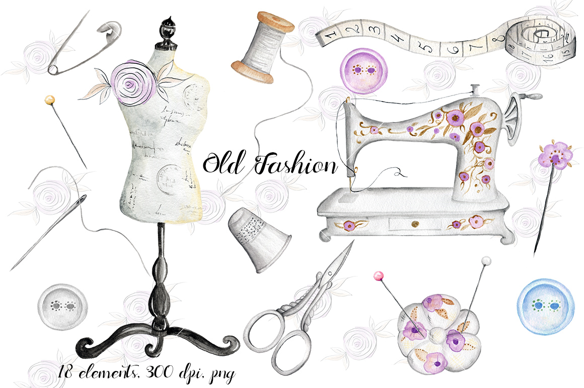 Watercolor sewing elements. Vintage example image 1
