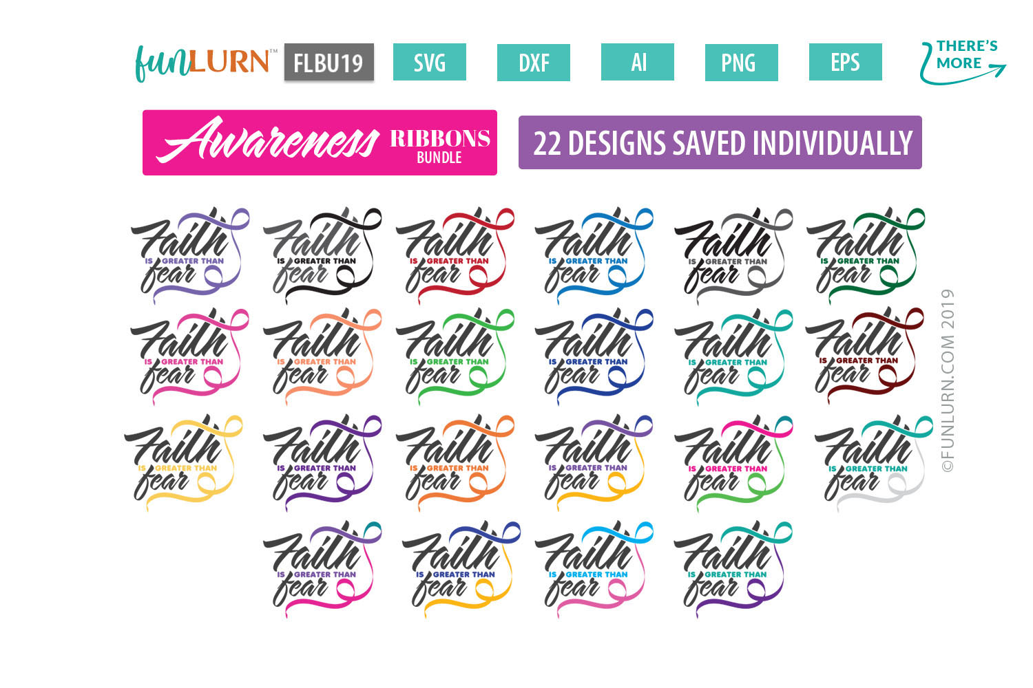 Faith is Greater Than Fear Ribbon Awareness SVG Bundle example image 1