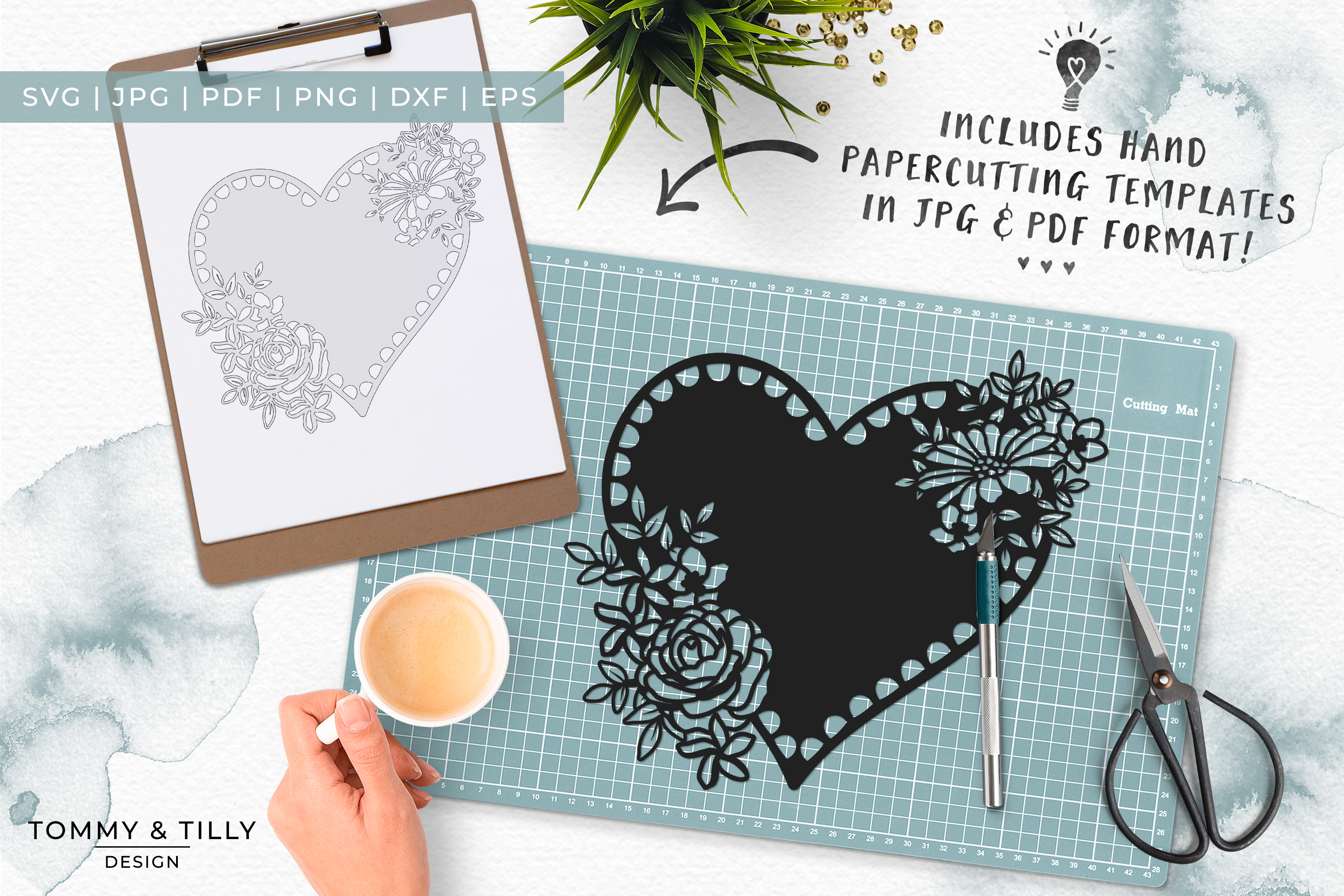 Intricate Flower Heart - Papercut SVG EPS DXF PNG PDF JPG example image 2