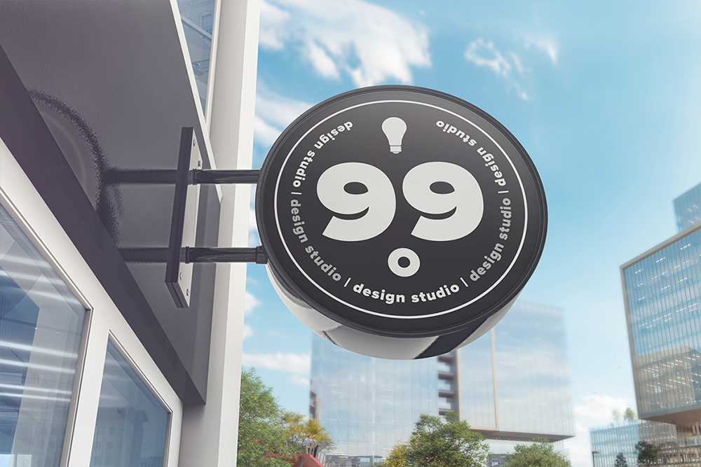 Building Advertising Round Sign Mockup example image 3