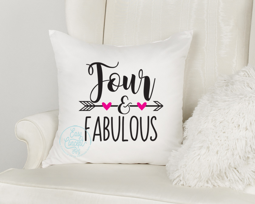 Four and Fabulous Svg, Four and Fabulous, Birthday Girl example image 2