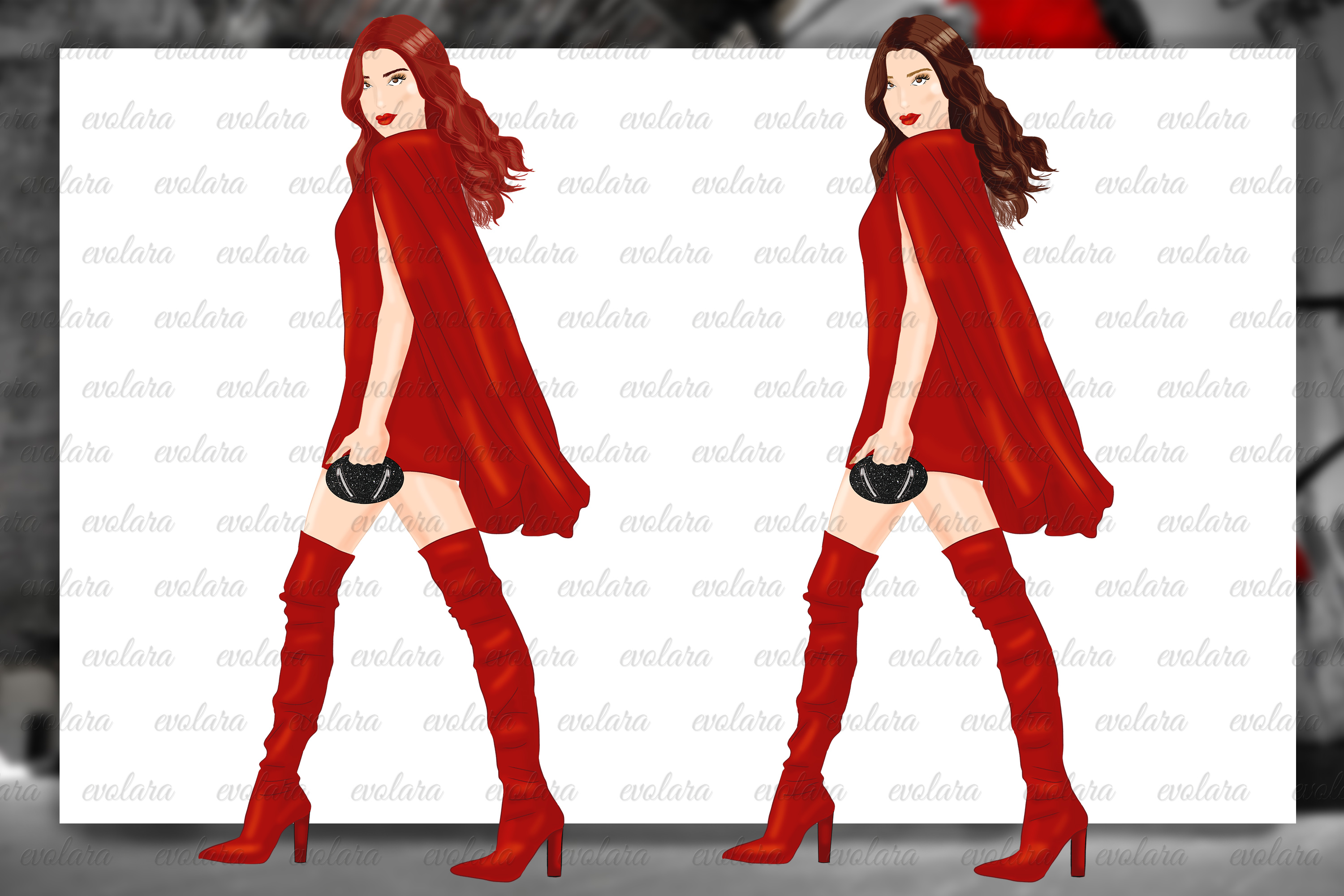 Fashion Girl Clipart Heels Clipart Red Fashion Illustrations example image 3