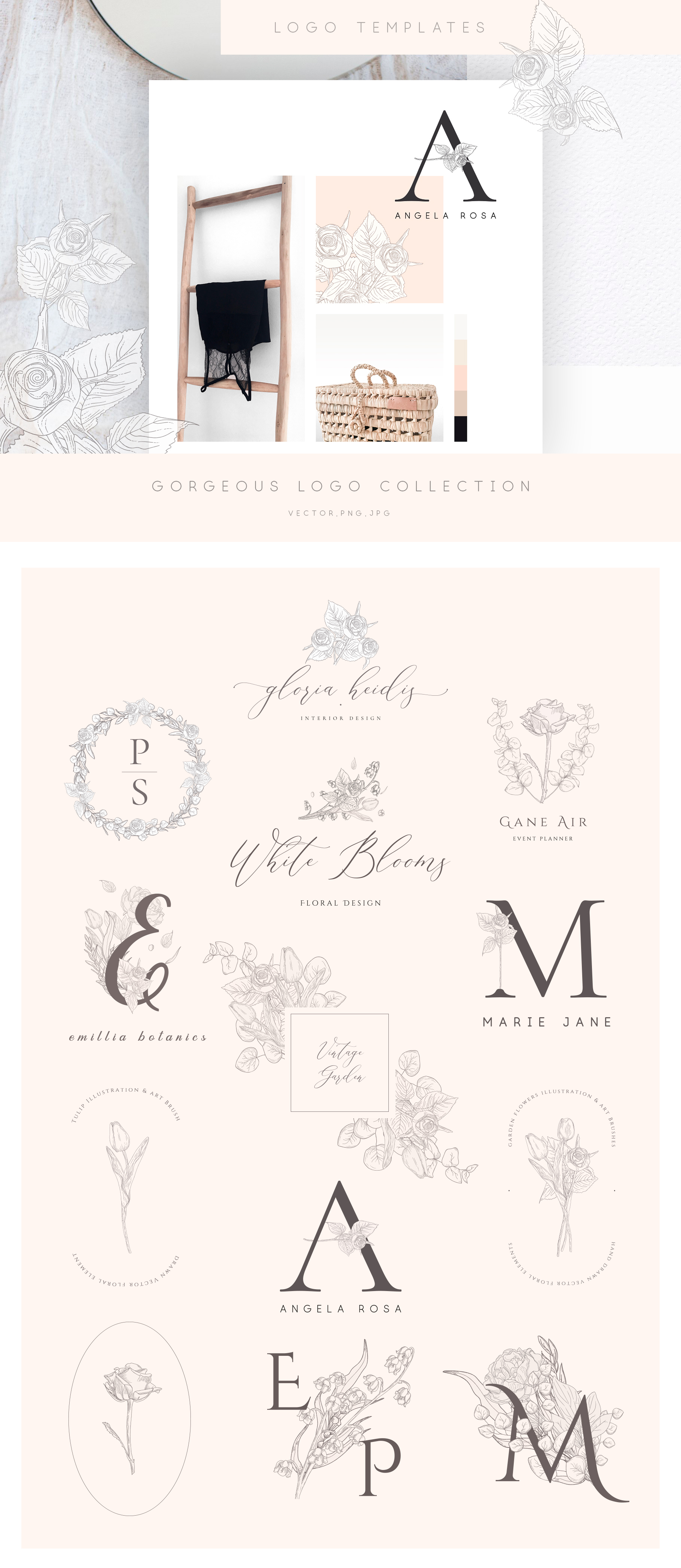 Floral Graphics, Logos, Patterns example image 2
