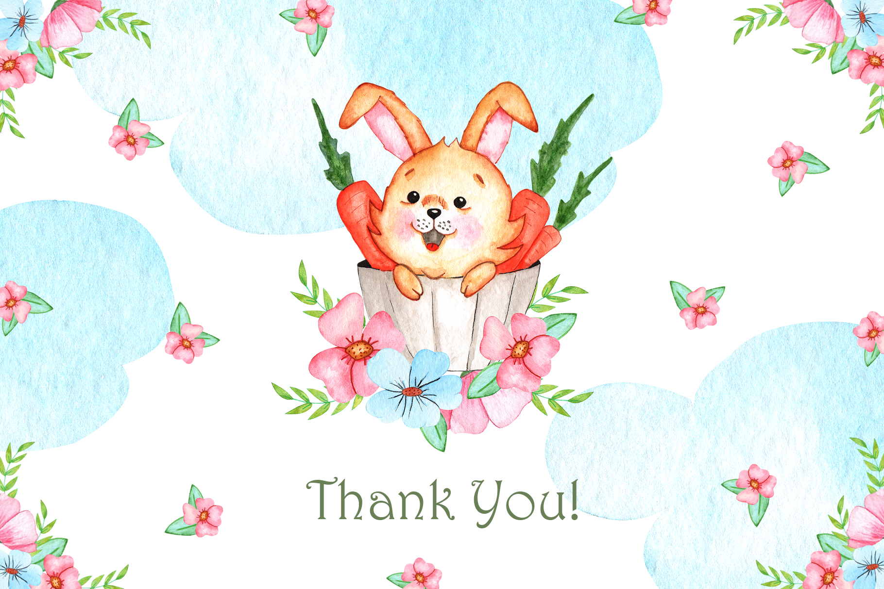Watercolor Little Bunnies Illustrations example image 7