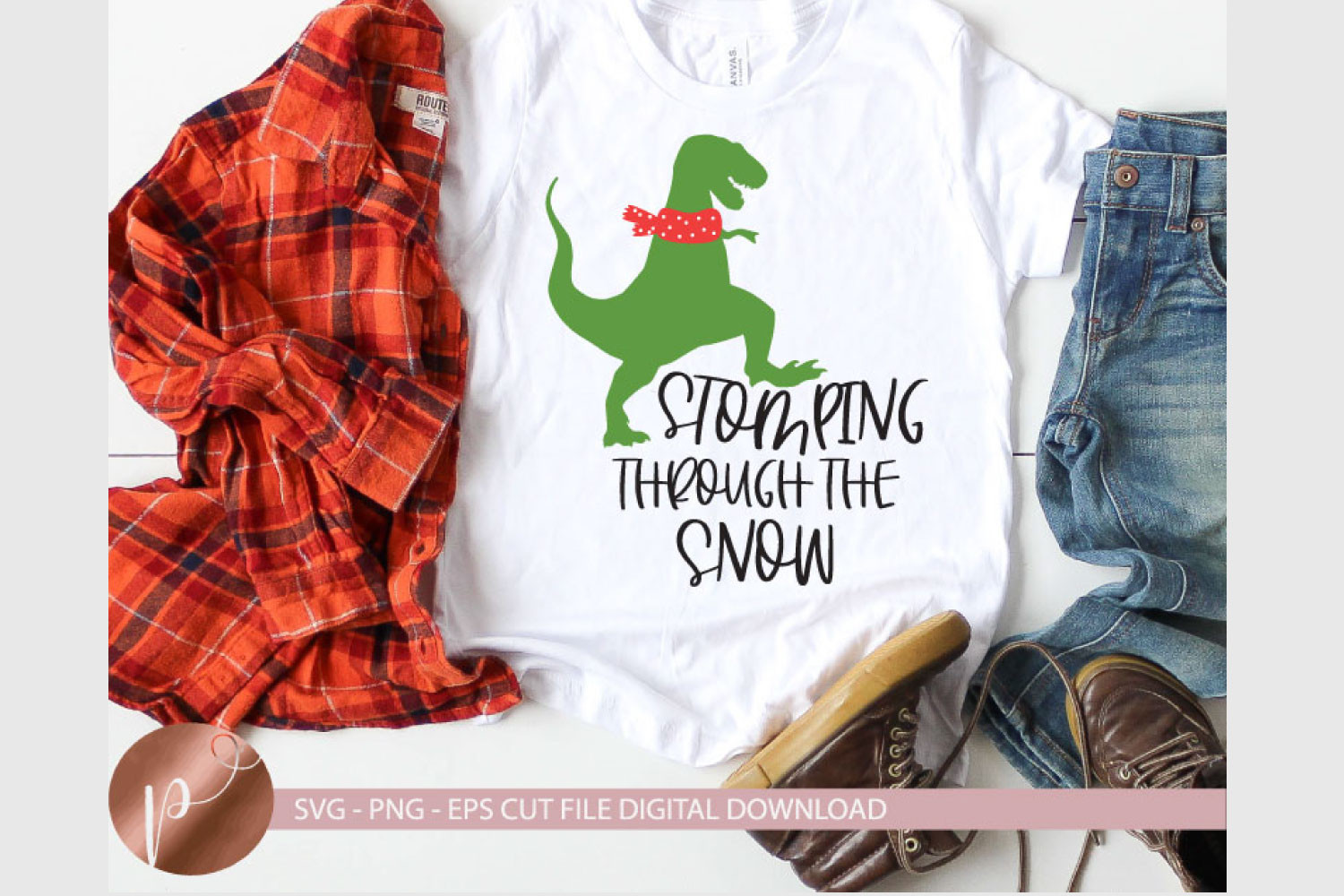 Stomping Through The Snow Svg, Christmas Dinosaur, Svg, Png example image 1