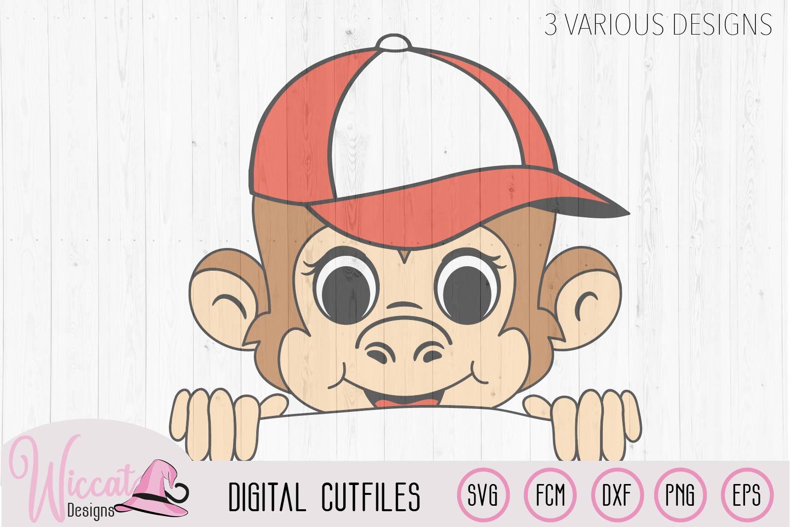 Peeka Boy monkey svg, monkey with cap, fcm cut file example image 3