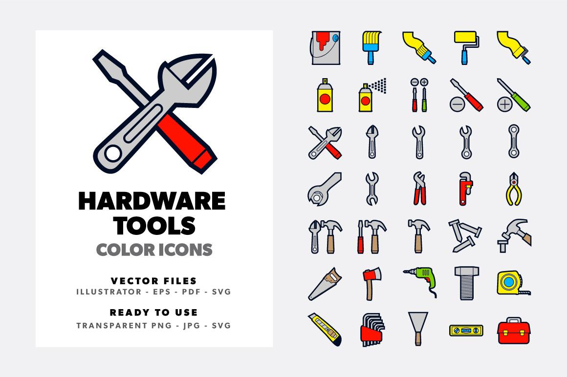 Hardware Tools Icons Set example image 1