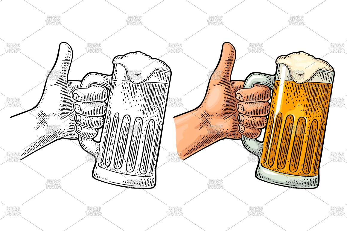 Male hand hold beer glass showing symbol Like Engraving example image 1
