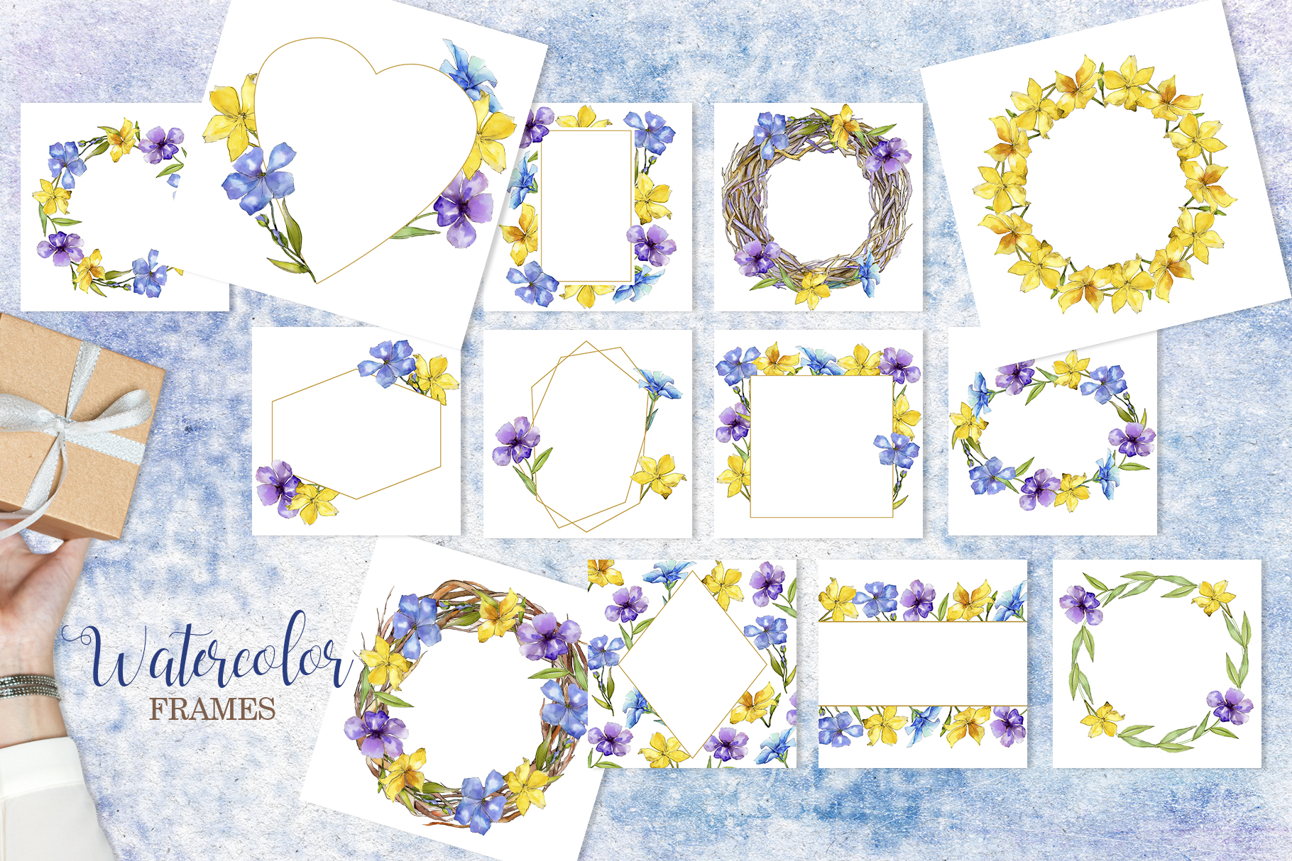 Flax Blue and yellow fowers Watercolor png example image 4