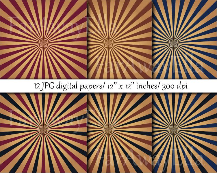 Vintage sunburst digital paper pack   12 JPG digital papers example image 3