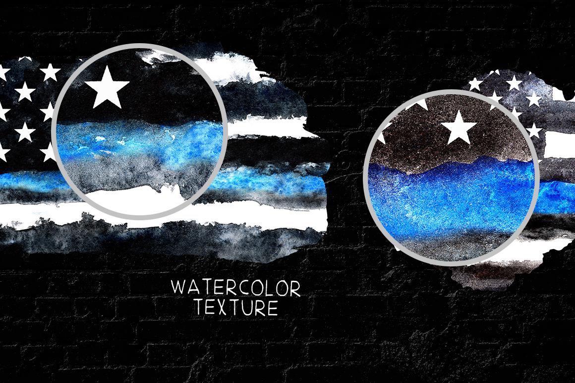 Police flag USA. Watercolor. example image 6