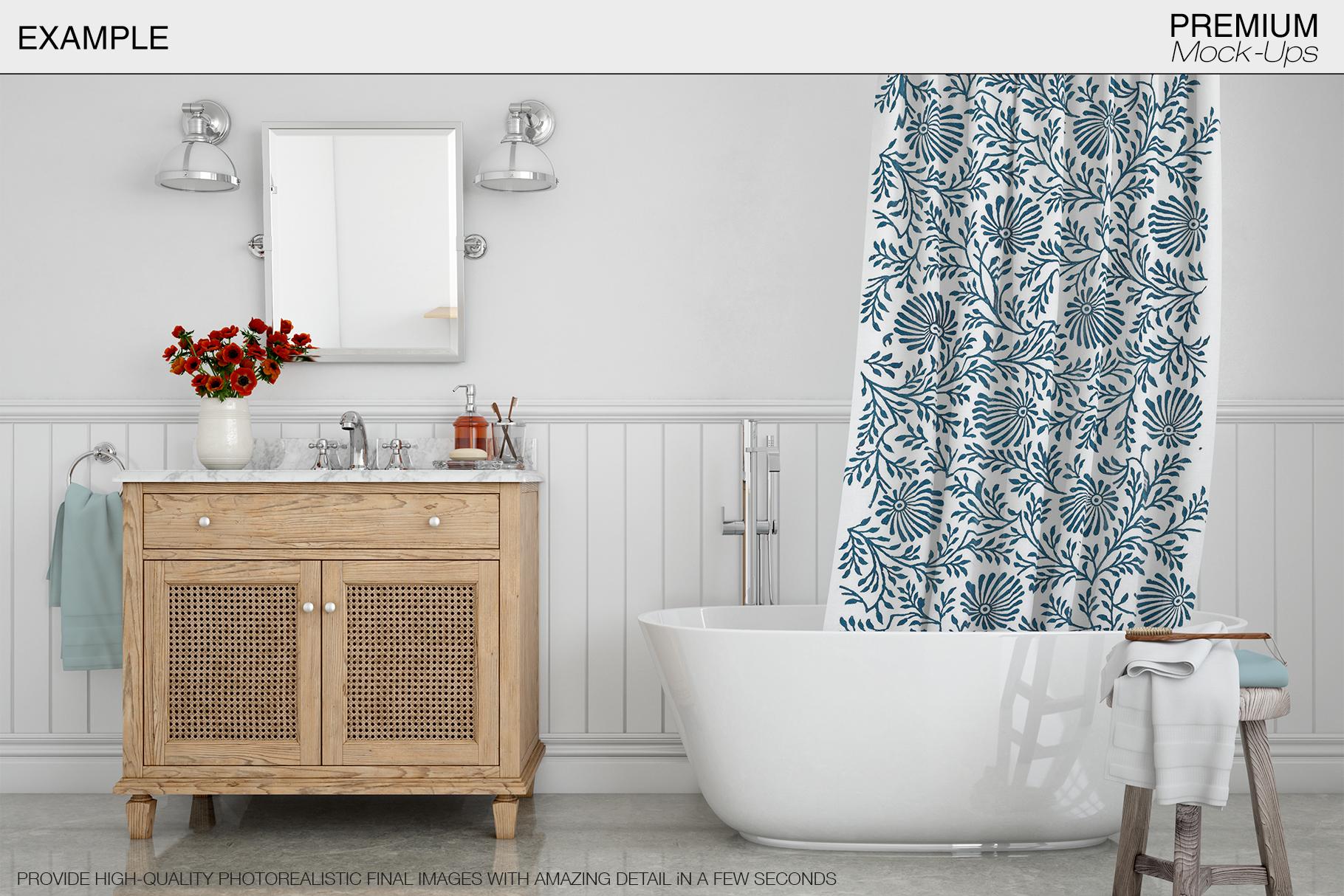 Bath Curtain Mockup Pack example image 17