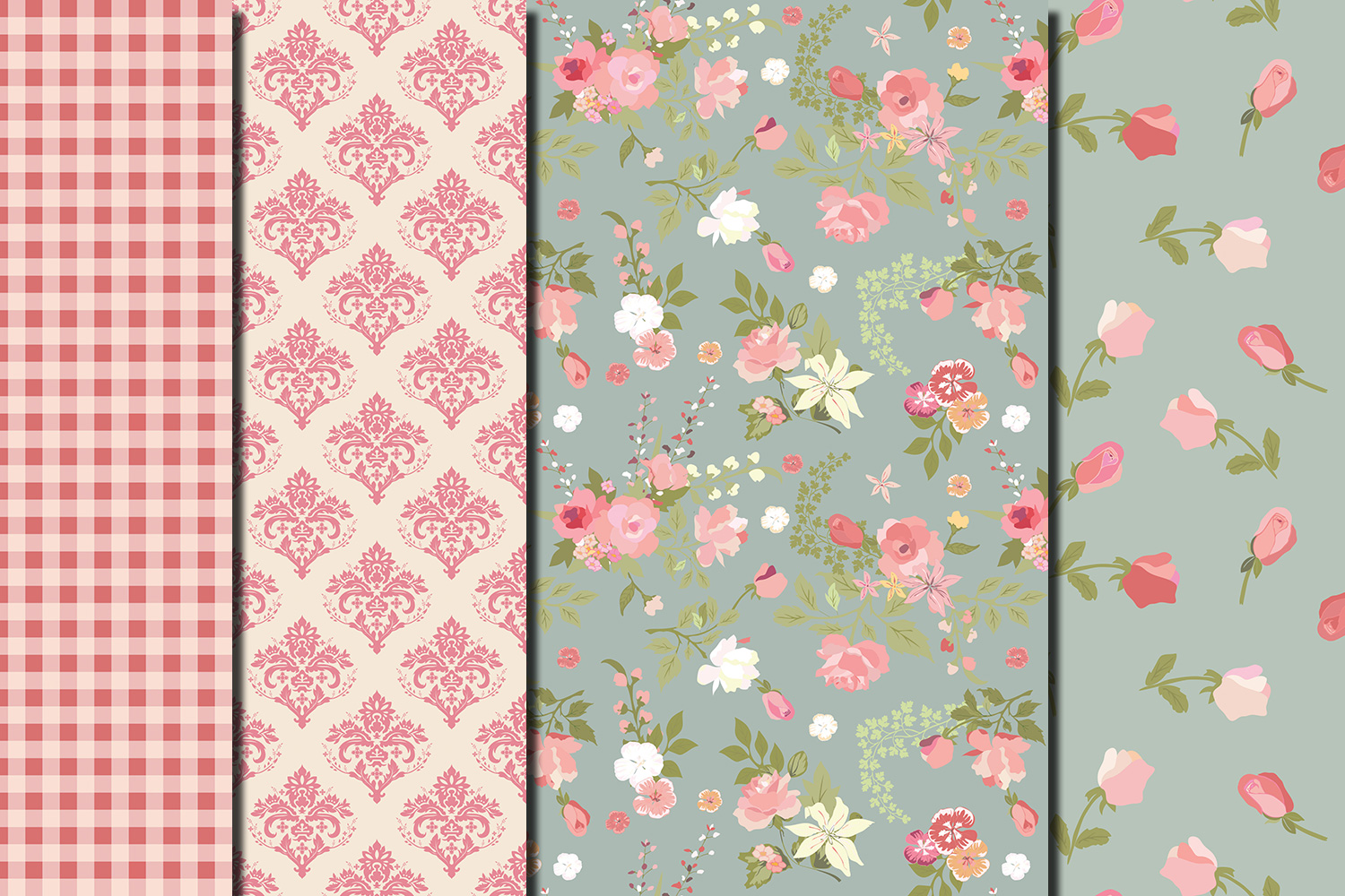 Shabby chic pink roses seamless digital paper pack example image 5