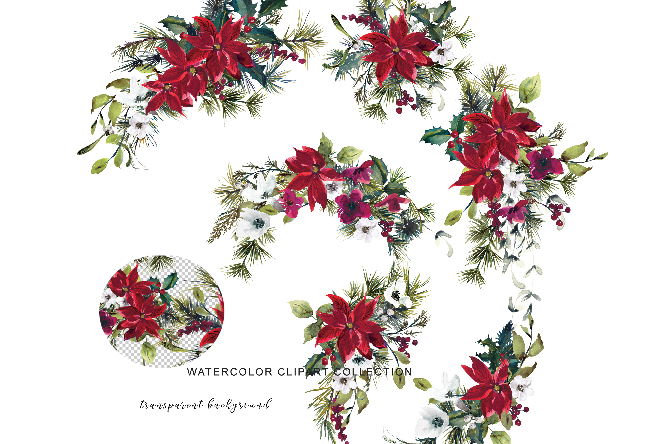 Watercolor Poinsettia Christmas Clipart example image 6