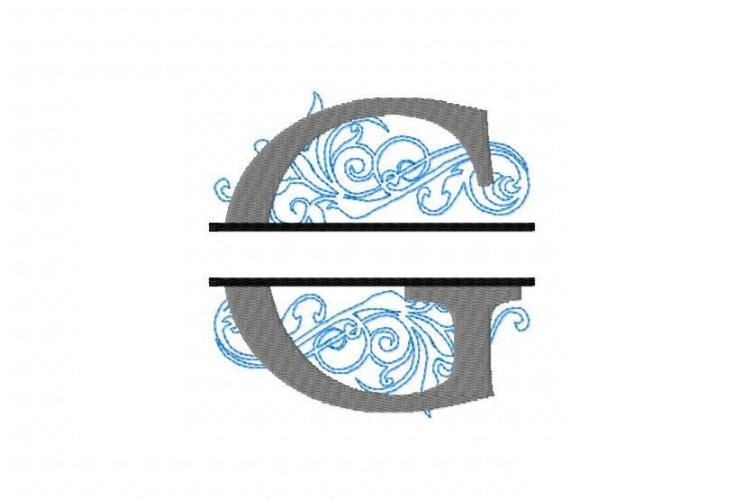Embroidery Fonts Split Monogram, Monogram G, 4X4 5X7 6x10 example image 2