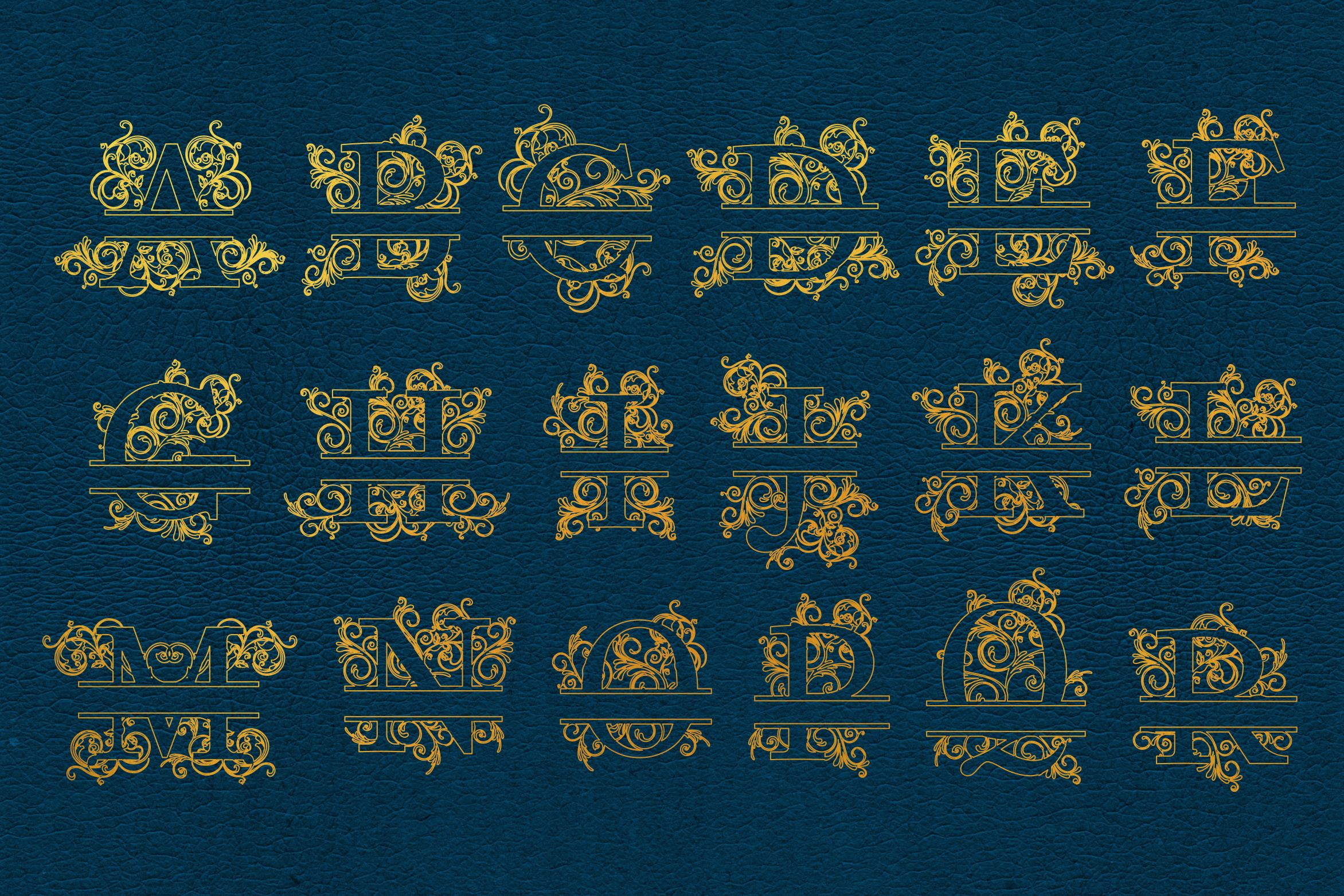Foil Quill Split Letters, Single Line Letters, Split Letters example image 2
