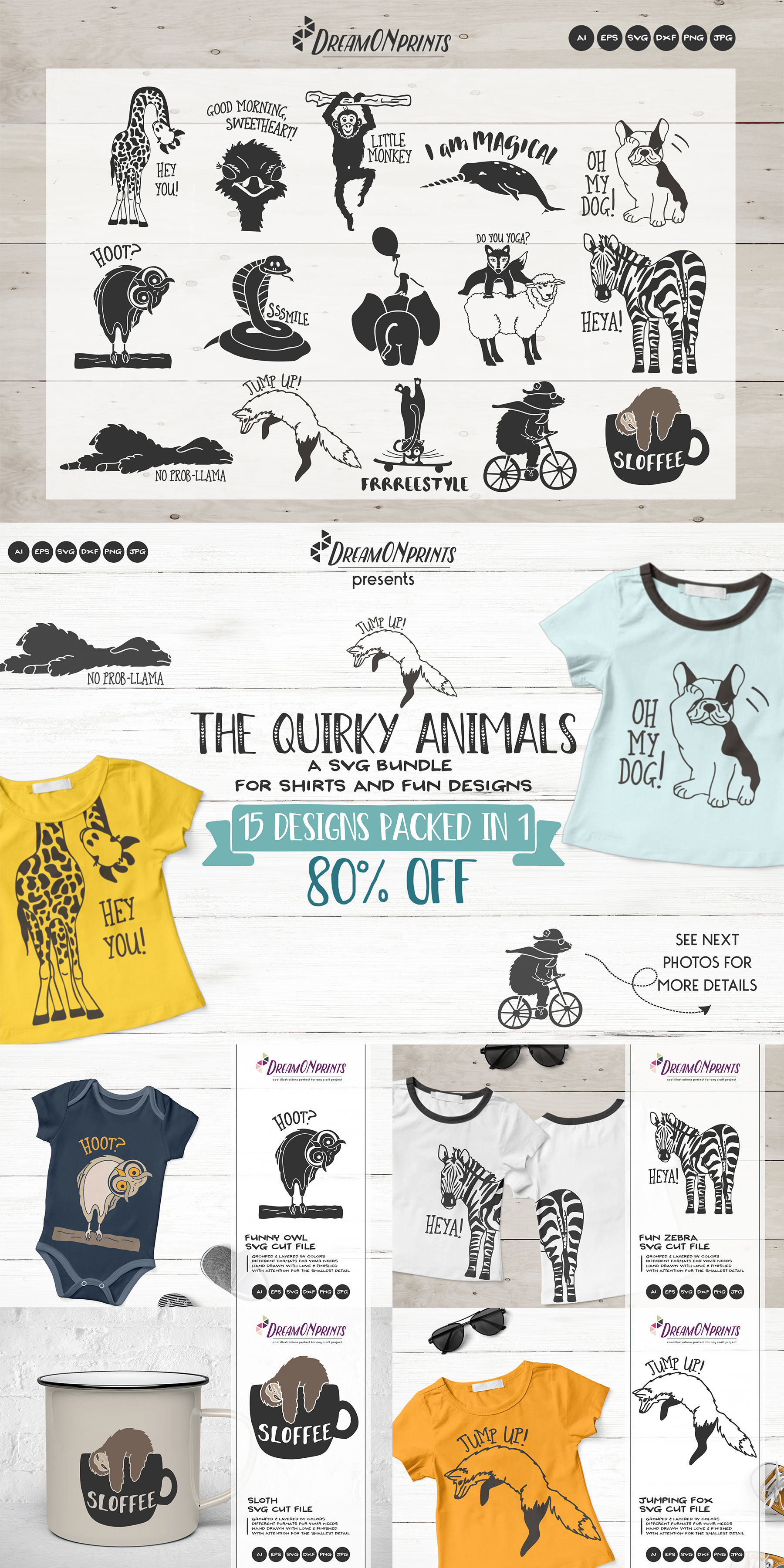 The Quirky Animals | Funny SVG Bundle example image 19