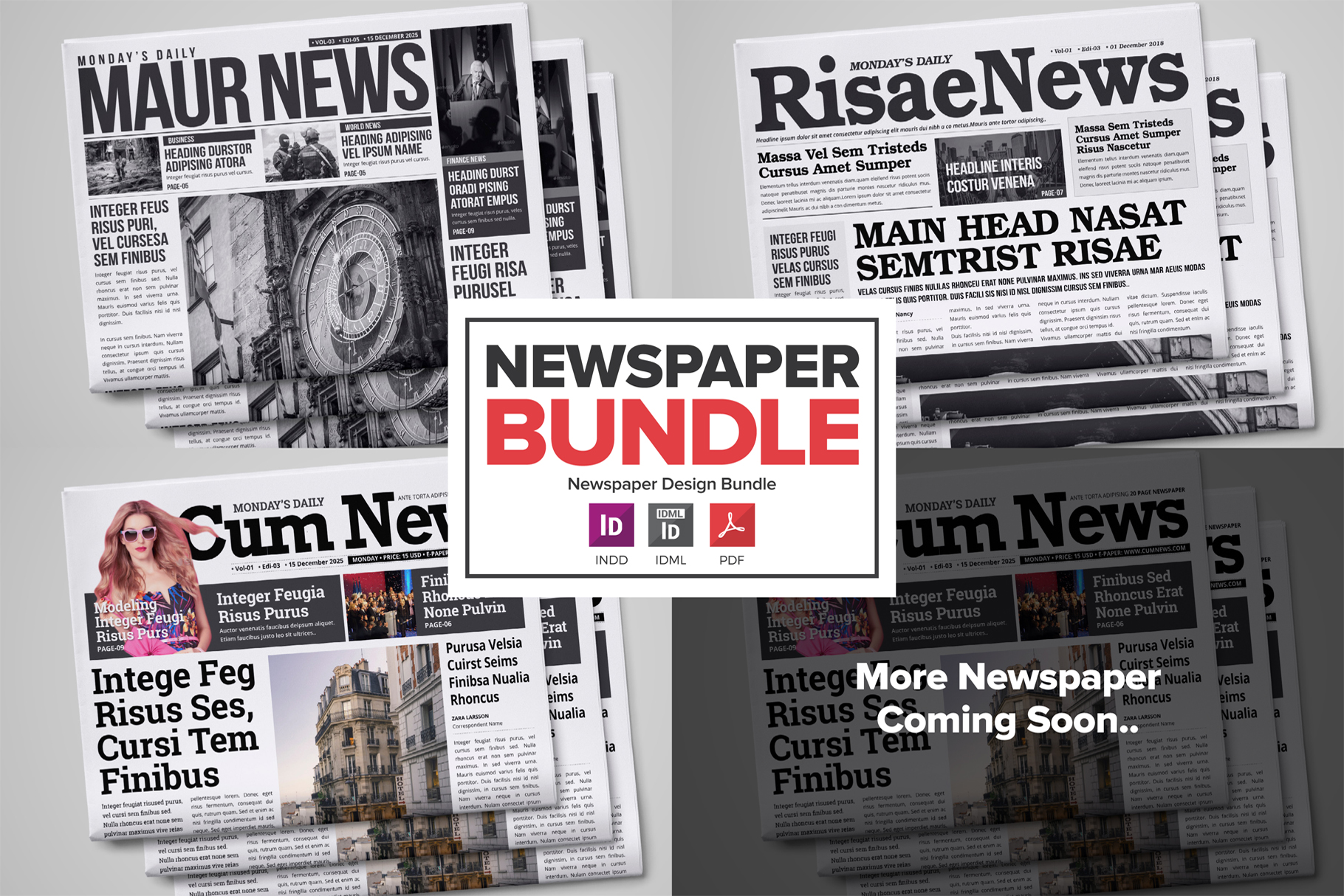 Newspaper Design Bundle - 3 in One example image 1