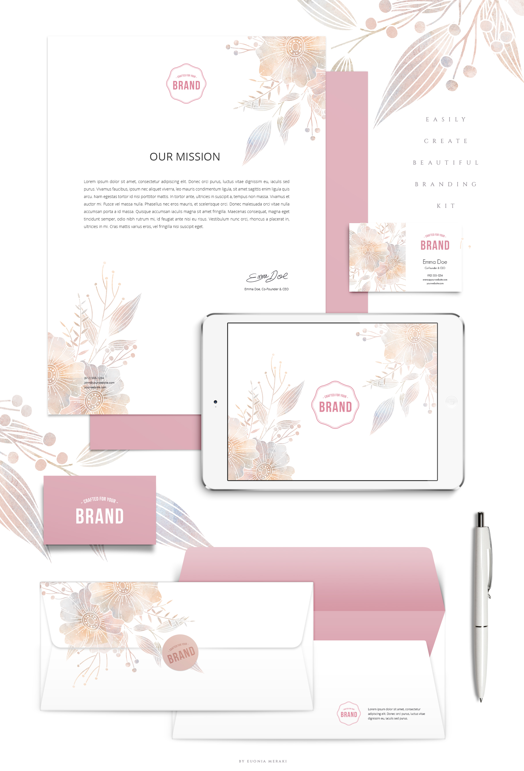 MISTY Dusty Floral Graphics and Monograms example image 13