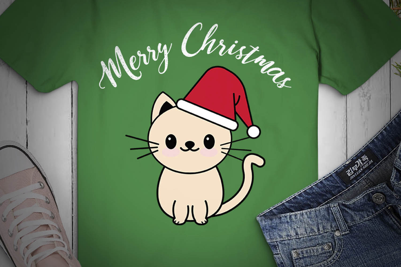 CAT SVG XMAS, Cat Christmas, cream cat, cat happy xmas example image 2