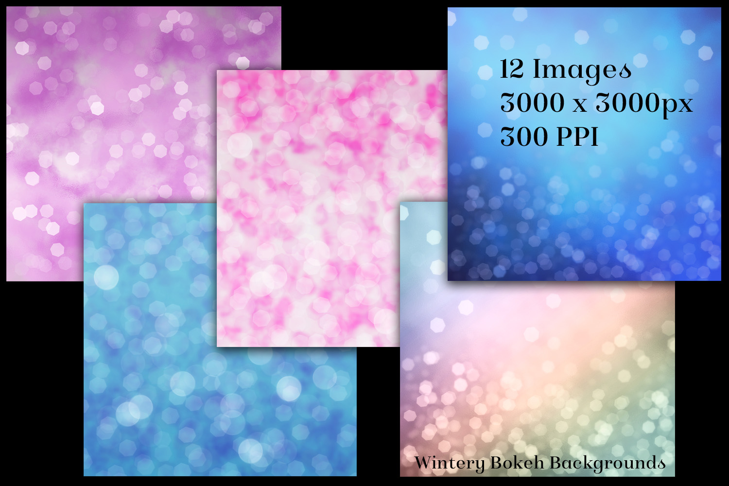 Wintery Bokeh Backgrounds - 12 Image Textures Set example image 2
