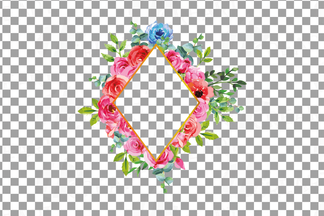 Boho pink and blue floral frames watercolor clip art pack example image 19